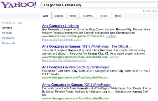 Yahoo People Finder